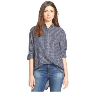 Madewell Abilene plaid collarless popover shirt L